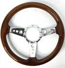 14 Polished 3-spoke Drilled Steering Wheel W Real Walnut Wood Grip - 9 Hole