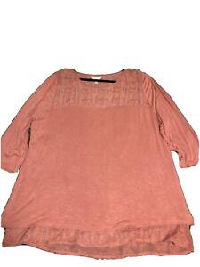Adiva Womens Top 1X Split Back With Lace Underlay Peach 3/4 Sleeve