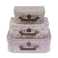 Set Of 3 Vintage Floral Suitcases Sass & Belle Storage Chest Home Decoration