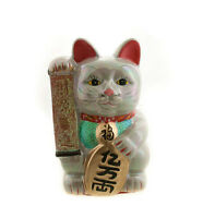 Enorme Hucha Gato Amuleto de la Suerte Gris Prosperidad Japonés Maneki Neko 302