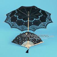 "30"" Black Battenburg Cotton Lace Bridal Wedding Umbrella Parasol & Hand Fan"