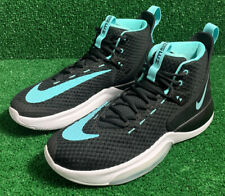 New NIKE ZOOM RIZE US Size 13 Men's Basketball Shoes BQ5467-001 Black White Aqua