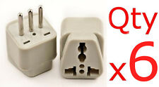 US USA American To Italy Plug Adapter 6 Pk Italian Outlet Converter 3 Round Pin