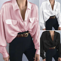 Women Satin Silky Victorian Shirt Long Sleeve Collared Button Down Top OL Blouse