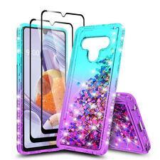 For LG Stylo 6 Case Liquid Glitter Bling Slim Cover/Full Glass Screen Protector