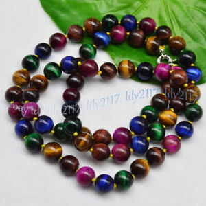 Charm 6/8/10/12mm Multi-Color Tiger's Eye Round Gemstone Beads Necklace 18-48''