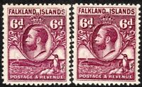 Falkland Islands 1929 purple 6d reddish-purple 6d mint  SG121/121a