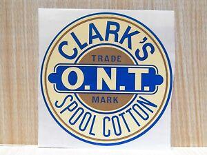 J P CLARK'S SPOOL CABINET DECAL THREAD COTTON O. N. T..Trade Mark