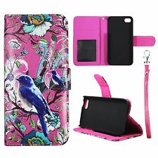 Wallet Pink Flower Bird For Apple Iphone 5C Syn Leather Case Cover Flip Pouch Fl