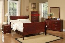 Alpine Furniture Louis Philippe Ii Eastern King Sleigh Bed, Cherry Finish NEW