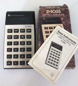 Vintage Calculator Texas Instruments TI-1025 Green led with Box 70's *Working*