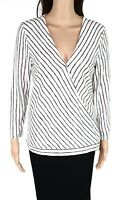 INC Womens Top White Size Small S Knit Surplice Striped Long Sleeve $59 104
