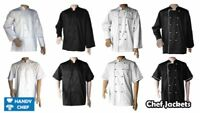 CHEF COAT JACKET CHEFS WHITE,BLACK COAT CHEFWEAR UNISEX PRESS STUDS GOOD QUALITY