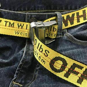Off White Tie Down Yellow Nylon Cotton Big IRON Head Industrial Belt 200CM S200