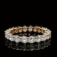 2.8CT BRILLIANT ROUND CREATED DIAMOND ETERNITY WEDDING BAND RING 14K YELLOW GOLD