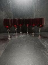 More details for vintage ruby red wine glasses set of 6