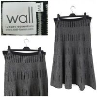 WALL London 100% Cashmere Black/Grey Flare Knit Midi Skirt Size M/L