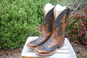 Mens NIB 9 D M Corral Rodeo Brown w/ Black Overlays & Studs Cowboy Boots A2625