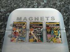 Transformers G1 Comic Fridge Magnet Set (UK) Issue 1,2 and 3. NEW. Optimus, Jazz