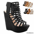 New Women Wedge Gladiator Strappy Lace Up Sandals Platform Peep Toe Heel Shoes