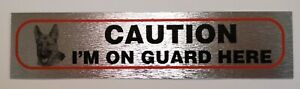 Pet Dog Warning Self Adhesive 'Caution Im On Guard' Info Signs Durable Quality