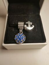 2X Anchor and Blue Flower Pandora Size Charms Gift