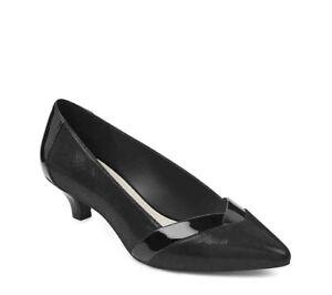Women Anne Klein Maureen Pump Kitten Heel Closed Toe Shoe Black