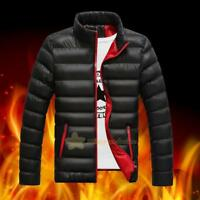 Men Winter Warm Cotton Padded Down Jacket Slim Thick Casual Outerwear Parka Coat