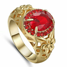 Size 9  Red Ruby CZ Wedding Ring 10KT Yellow Gold Filled Women's Party Jewelry