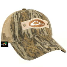 DRAKE WATERFOWL SYSTEMS RIVETED LOGO MESH BACK TRUCKER HAT BALL BOTTOMLAND CAMO
