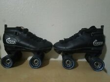 Cobra Roller Derby Black Speed Skates Size 5 Power Formula Wheels