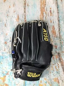 "Wilson A730 12 ""Baseball Mitt Glove right  Hand Throw Black dk125 ecco leather"