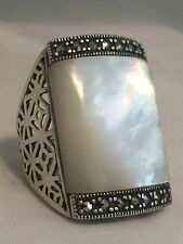 Vintage Sterling Silver Large Rectangular MOP Marcasites Ring Size 7.50 13.9g PK