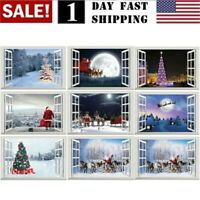 Merry Christmas Window Wall Sticker Decals Big Elk Santa Claus Home Xmas Decor