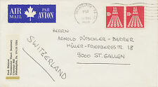USA 1969 10 C. Stars pair on superb Air Mail cover with rare CANADIAN Air Label