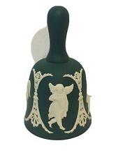 """50% Off Vintage Wedgwood Spruce / Green / Teal Jasperware Cupids Bell 4"""""""