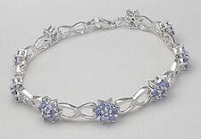 "7.5"" Solid Sterling Silver Flower Tanzanite Bracelet 12.12g + 8mm wide FEMININE"