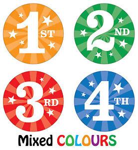 144 x Sports Day Reward Stickers - 1st, 2nd, 3rd 4th Place - School Teachers