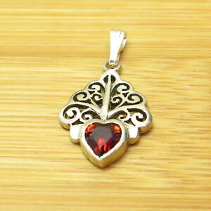 """Scrollwork Red Heart Sprout Delicate 925 Sterling Silver Pendant 5/8"""" 1.2g"""