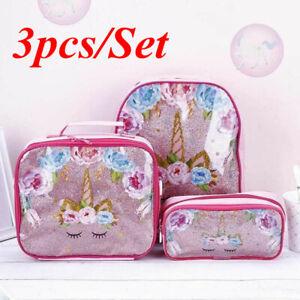 3Pcs Set Child Girls Unicorn School Backpack Lunch Bag Pencil Pen Case Rucksack