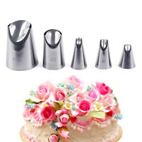 5pcs Petal Stainless Steel Icing Piping Nozzle Cream Tips Cake Cream Pastry Tool