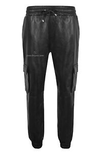 Mens Jogging Bottoms Real Leather Trousers Black Lambskin Casual Cargo Pant 3035