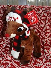 "NEW Rudolph the Red nosed reindeer stuffed plush 15"" tall New with tags Dandee"