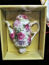 "Teapot Night Light Porcelain Ceramic Floral Rose Sando Rose Collection 6.5"""