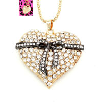 Betsey Johnson Crystal Big Bowknot Love Heart Pendant Sweater Chain Necklace