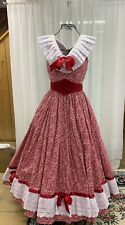 Civil War/Victorian Day Gown, of a tiny White Pattern on Red 100% Cotton Fabric