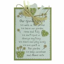 Our Garden Rules Novelty Gardening Plaque Rope Wall Hanging Gardener Sign Gift