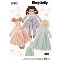 SIMPLICITY Sewing Pattern~8760 Childrens Childs Stuffed Dolls+Clothes