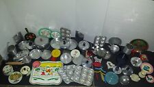 Tin Litho CHILDREN'S Doll Dishes COOKWARE PANS Cutlery Tea Huge Lot 68 Pcs Toy
