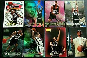 8 DIFFERENT TIM DUNCAN ROOKIE CARDS- FLEER FLAIR,METAL,HOOPS,SKYBOX, UPPER DECK